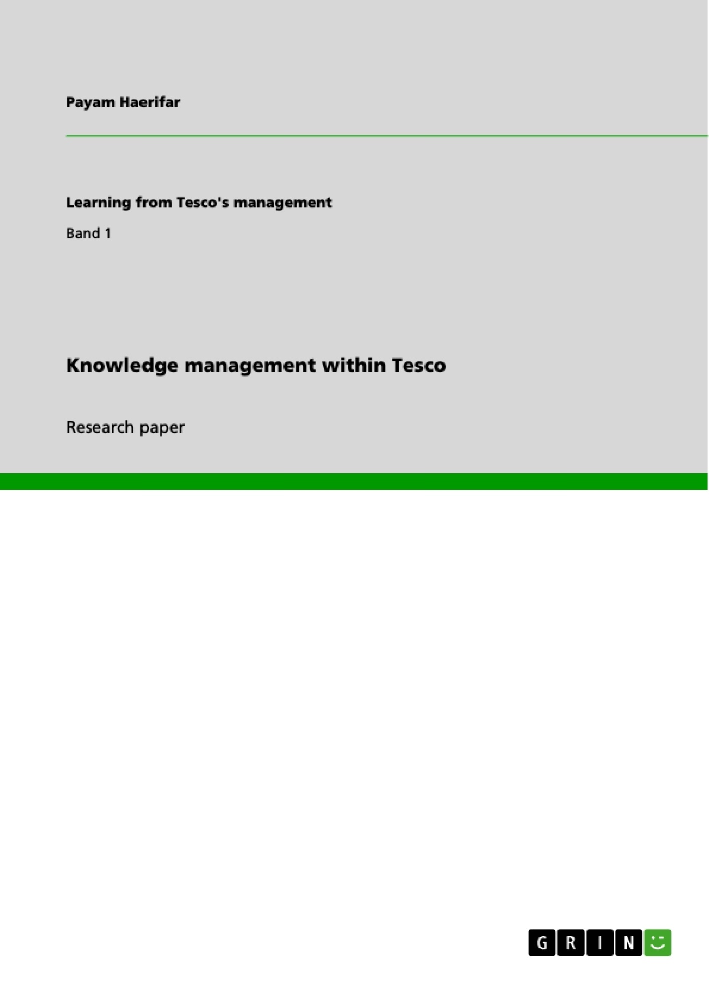Title: Knowledge management within Tesco