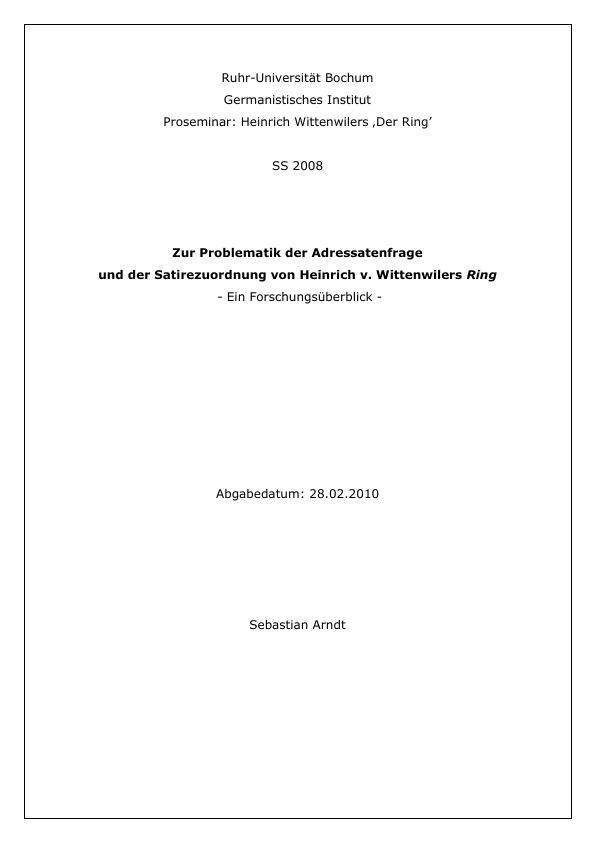 """Titel: Zur Problematik der Adressatenfrage  und der Satirezuordnung von Heinrich v. Wittenwilers """"Ring"""""""