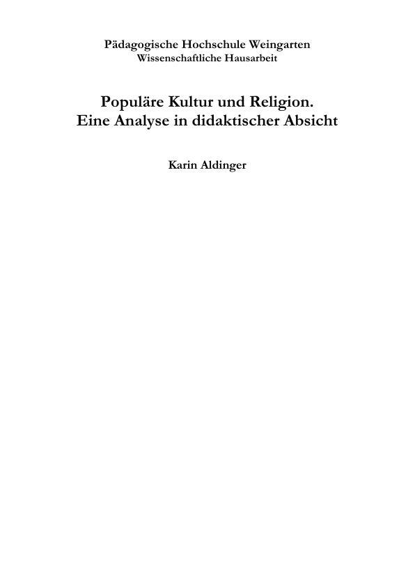 Titel: Populäre Kultur und Religion