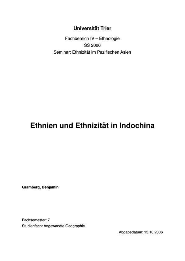 Titel: Ethnien und Ethnizität in Indochina