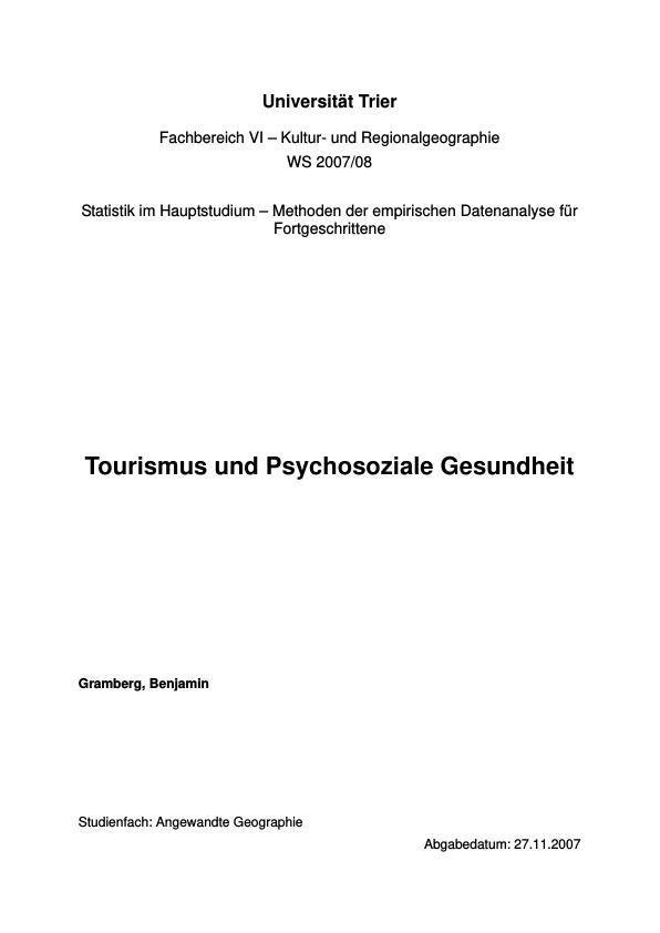 Titel: Tourismus und psychosoziale Gesundheit