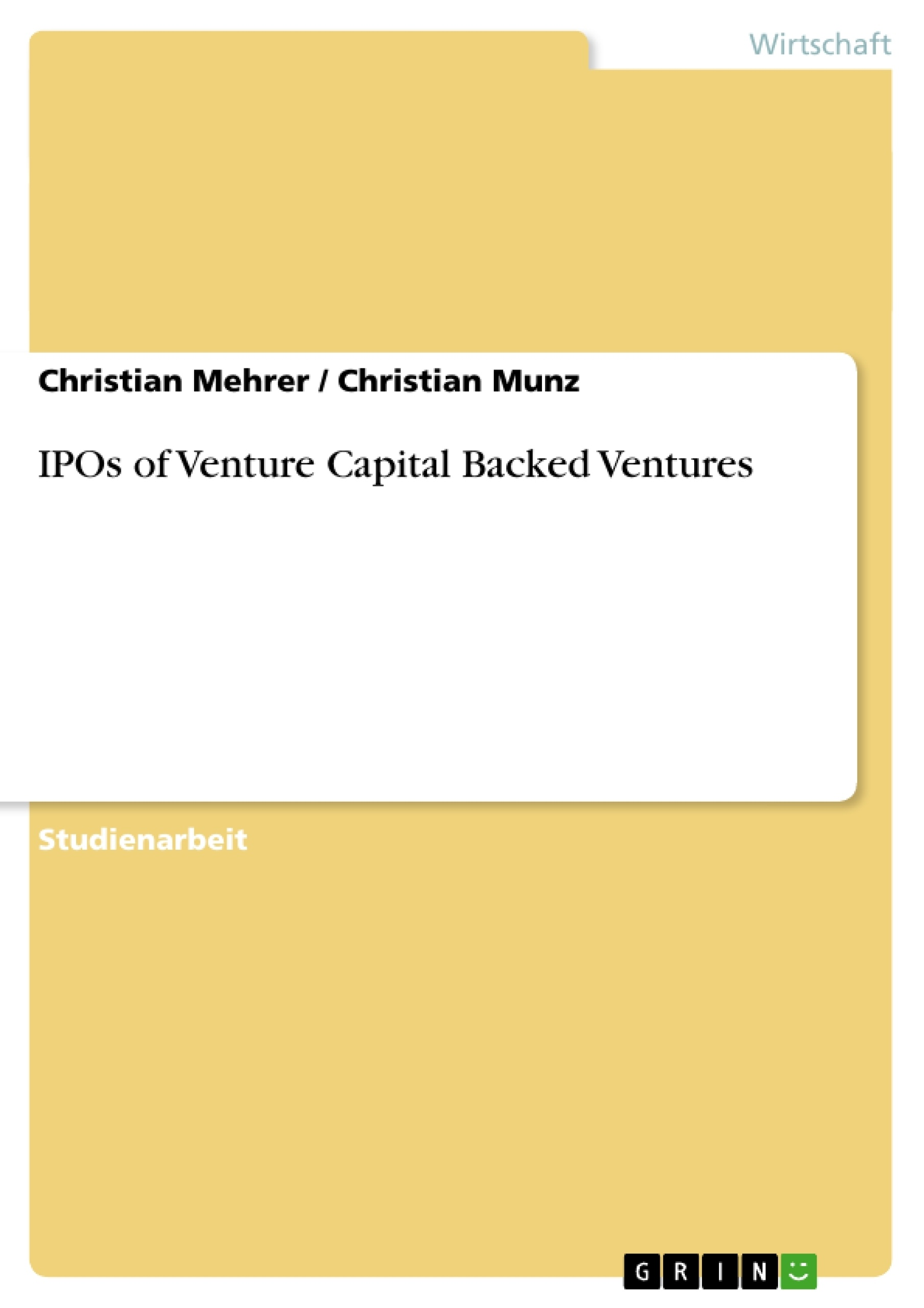 Titel: IPOs of Venture Capital Backed Ventures
