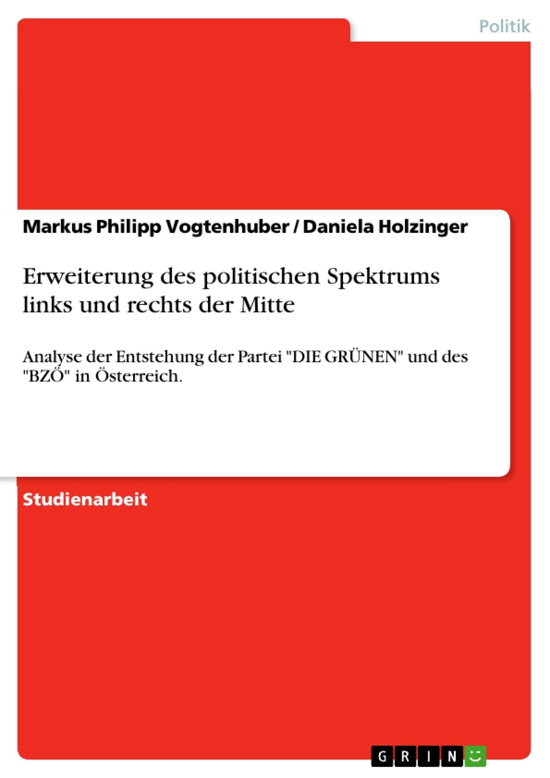Titel: Erweiterung des politischen Spektrums links und rechts der Mitte