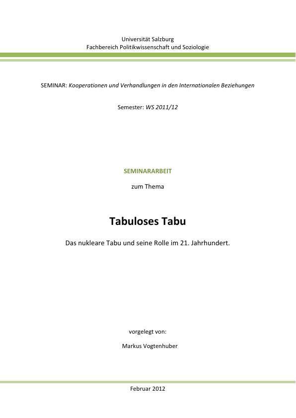 Titel: Tabuloses Tabu