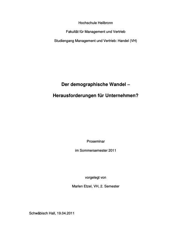 Titel: Der demographische Wandel - Herausforderungen für Unternehmen