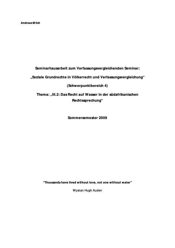 Titel: Das Recht auf Wasser in der südafrikanischen Rechtsprechung