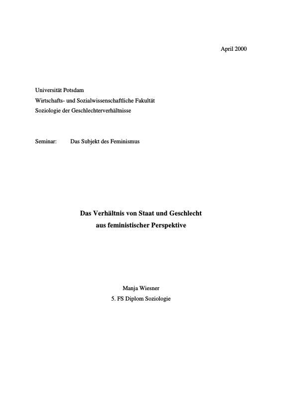 Titel: Das Verhältnis von Staat und Geschlecht aus feministischer Perspektive