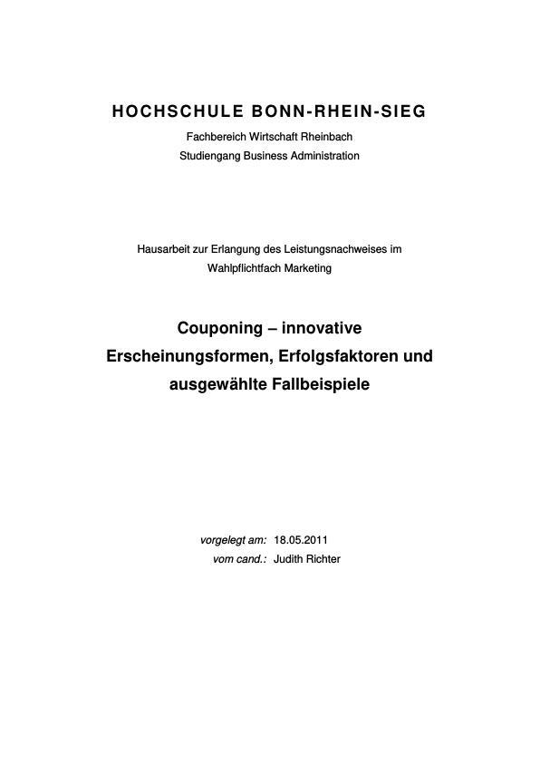 Titel: Couponing – innovative Erscheinungsformen, Erfolgsfaktoren und ausgewählte Fallbeispiele