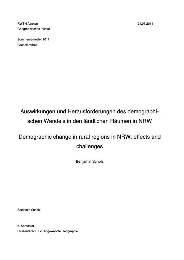 Titel: Ländliche Räume im demographischen Wandel: Auswirkungen und Handlungsansätze in Nordrhein-Westfalen