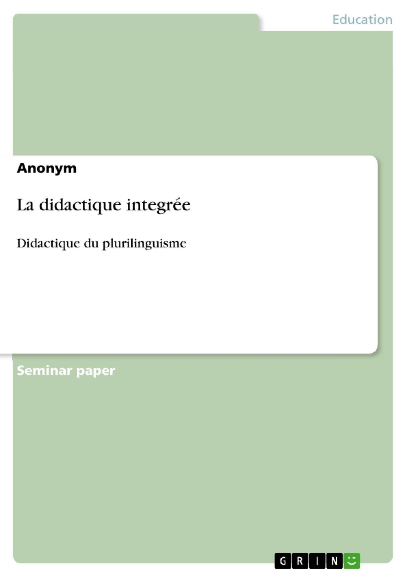 Titre: La didactique integrée