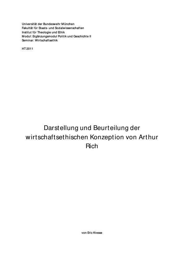 Titel: Darstellung und Beurteilung der wirtschaftsethischen Konzeption von Arthur Rich