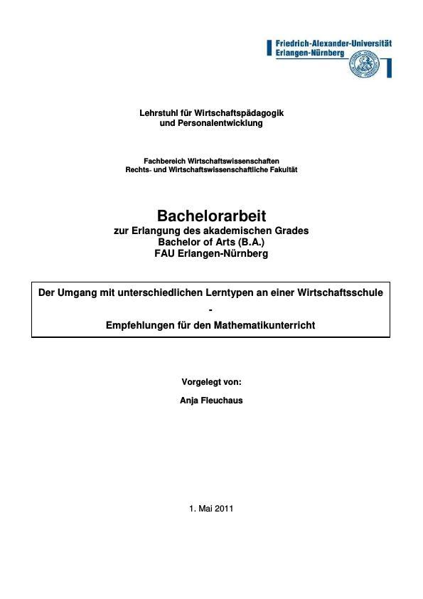 Titel: Der Umgang mit unterschiedlichen Lerntypen an einer Wirtschaftsschule