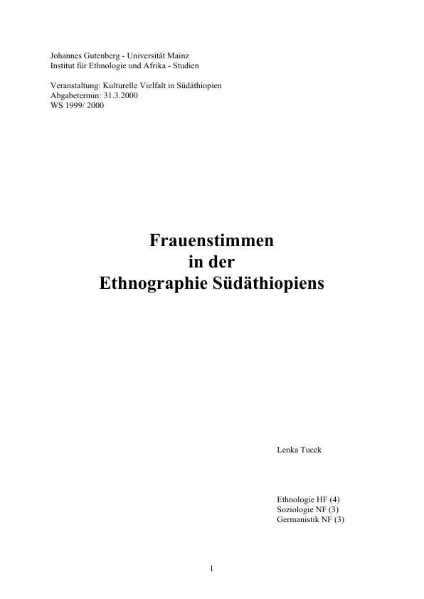 Titel: Frauenstimmen in der Ethnographie Südäthiopiens