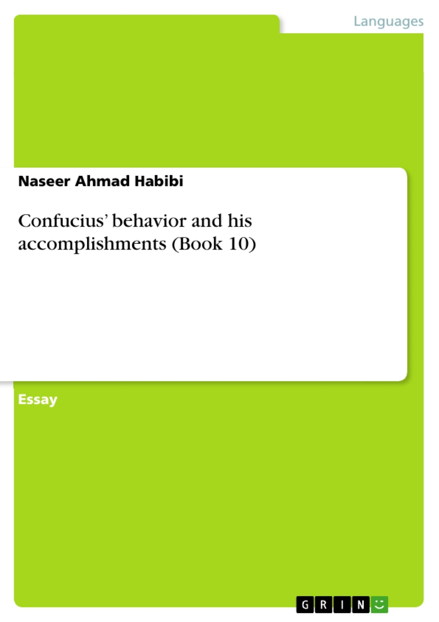 Title: Confucius' behavior and his accomplishments (Book 10)