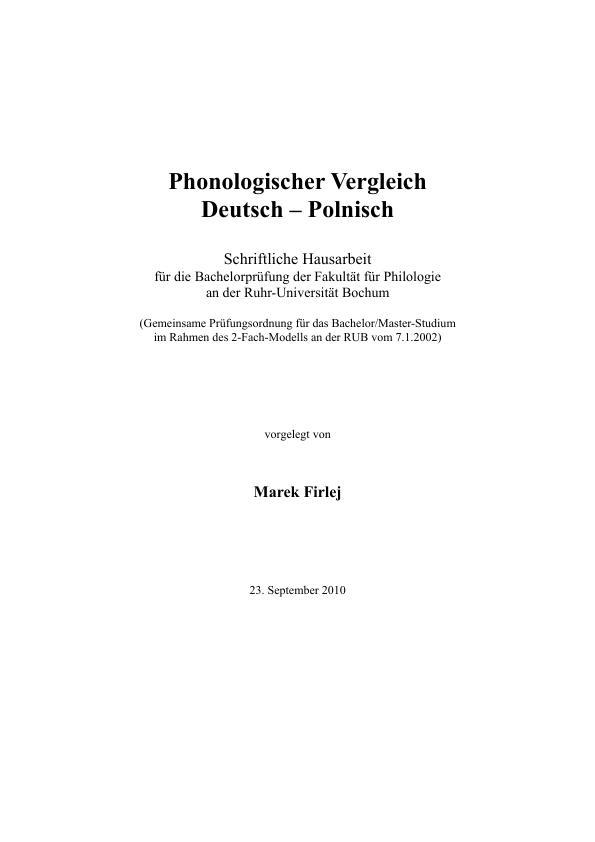 Titel: Phonologischer Vergleich des Deutschen und des Polnischen