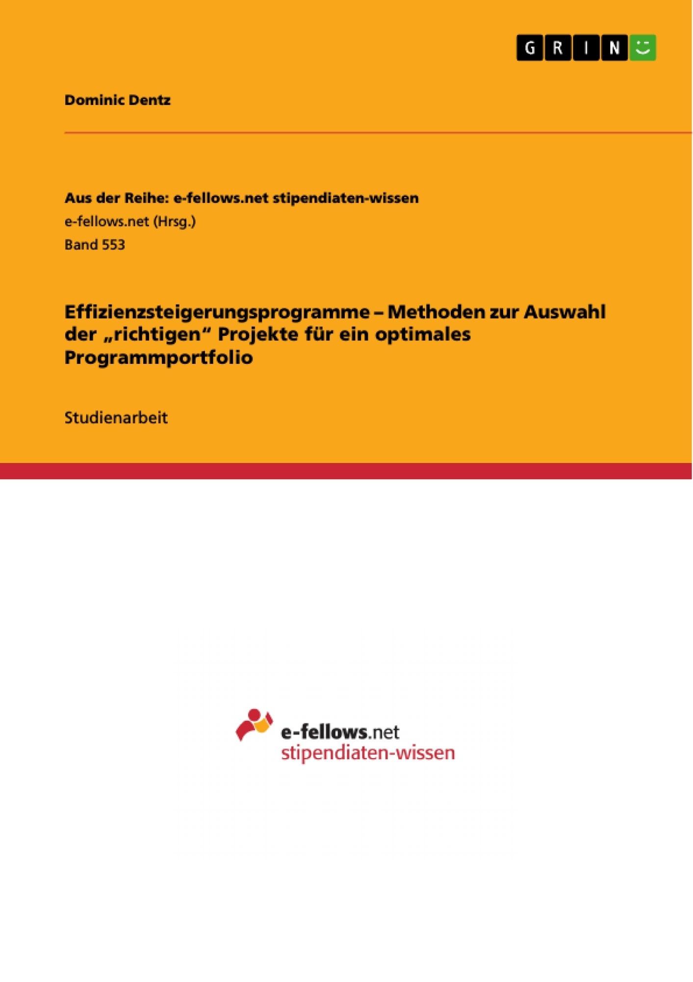 """Titel: Effizienzsteigerungsprogramme –  Methoden zur Auswahl der """"richtigen"""" Projekte für ein optimales Programmportfolio"""