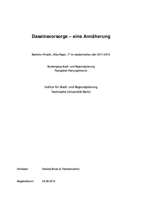 Titel: Eine Einführung in die Daseinsvorsorge