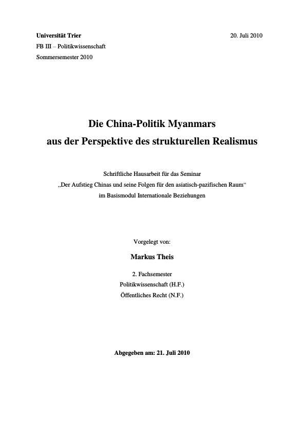 Titel: Die China-Politik Myanmars aus der Perspektive des strukturellen Realismus