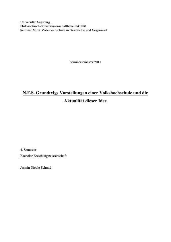 Titel: N.F.S. Grundtvigs Vorstellungen einer Volkshochschule und die Aktualität dieser Idee