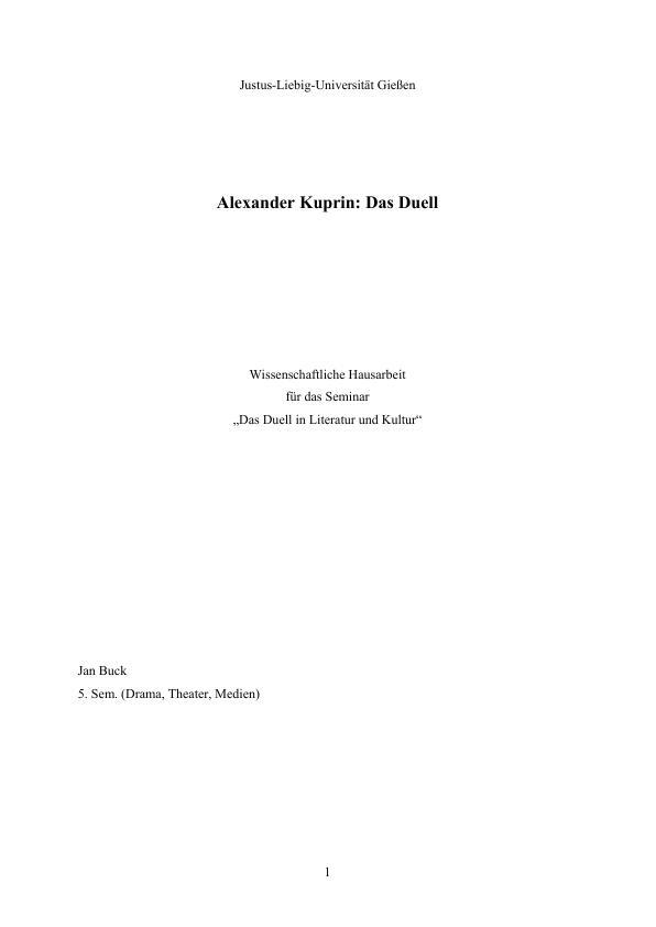 """Titel: Alexander Kuprin """"Das Duell"""" - Vorstellung des Romans und Untersuchung seiner zentralen Motive"""