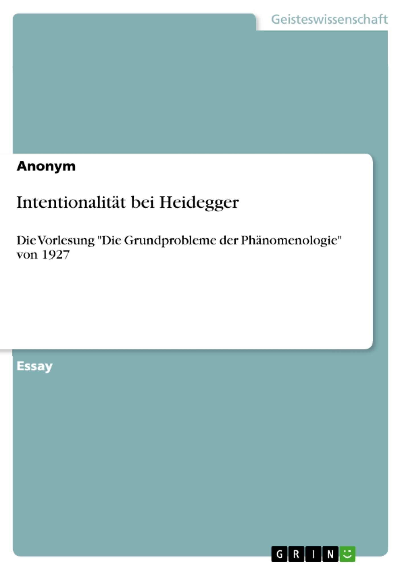 Titel: Intentionalität bei Heidegger
