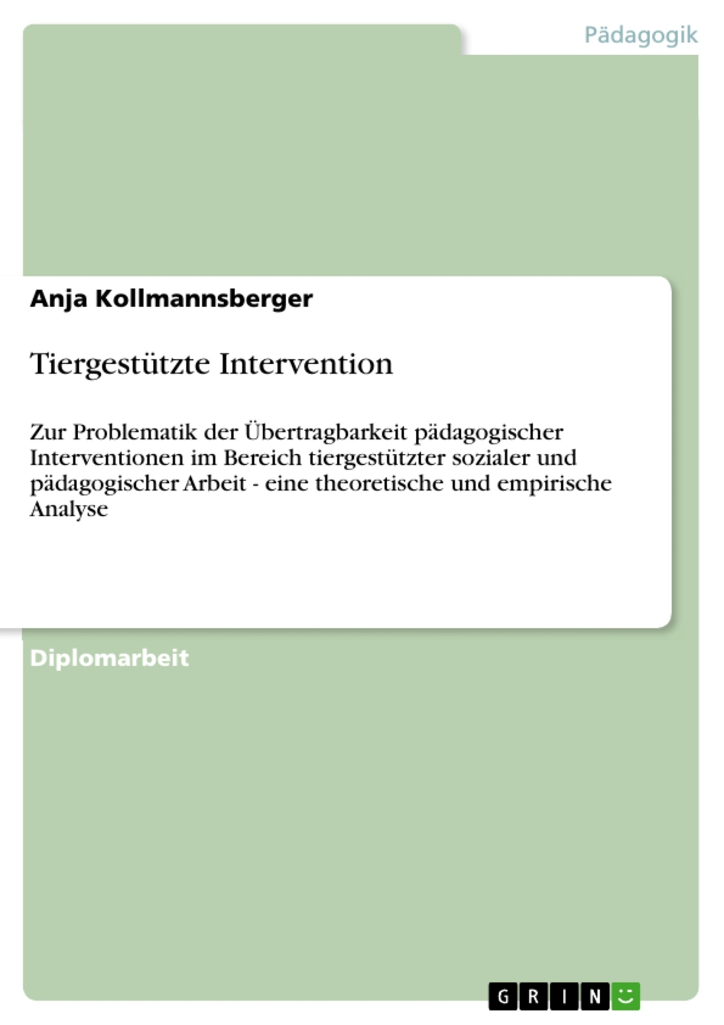 Titel: Tiergestützte Intervention