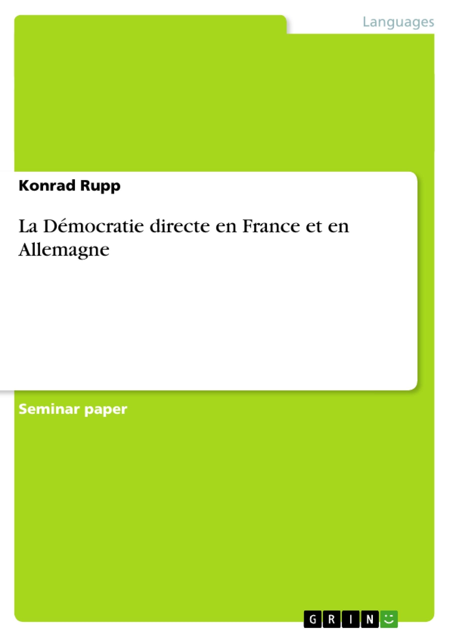 Titre: La Démocratie directe en France et en Allemagne