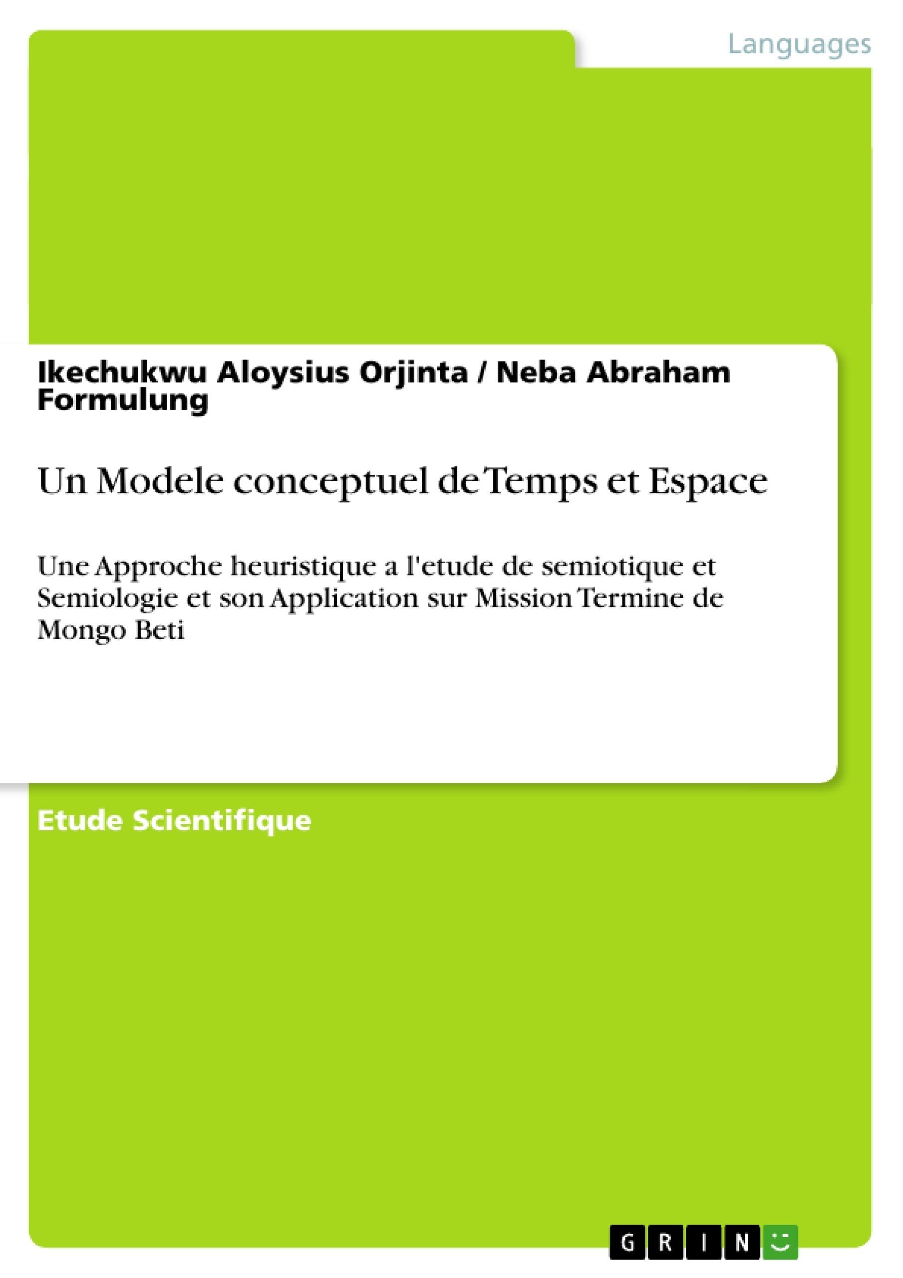 Titre: Un Modele conceptuel de Temps et Espace