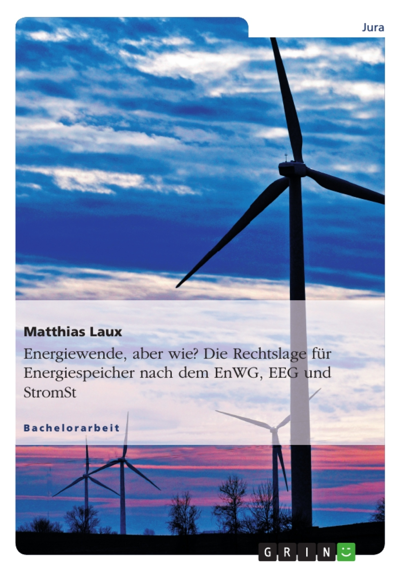 Titel: Energiewende, aber wie? Die Rechtslage für Energiespeicher nach dem EnWG, EEG und StromStG