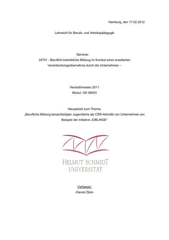 """Titel: Berufliche Bildung benachteiligter Jugendlicher als CSR-Aktivität von Unternehmen am Beispiel der Initiative """"JOBLINGE"""""""