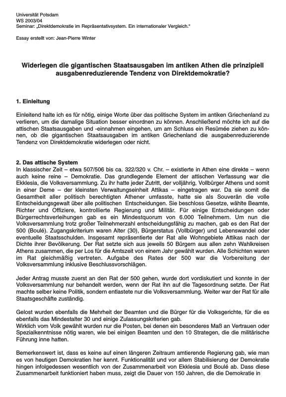 Titel: Gigantische Staatsausgaben im antiken Athen vs. Direktdemokrati und ausgabenreduzierende Tendenz