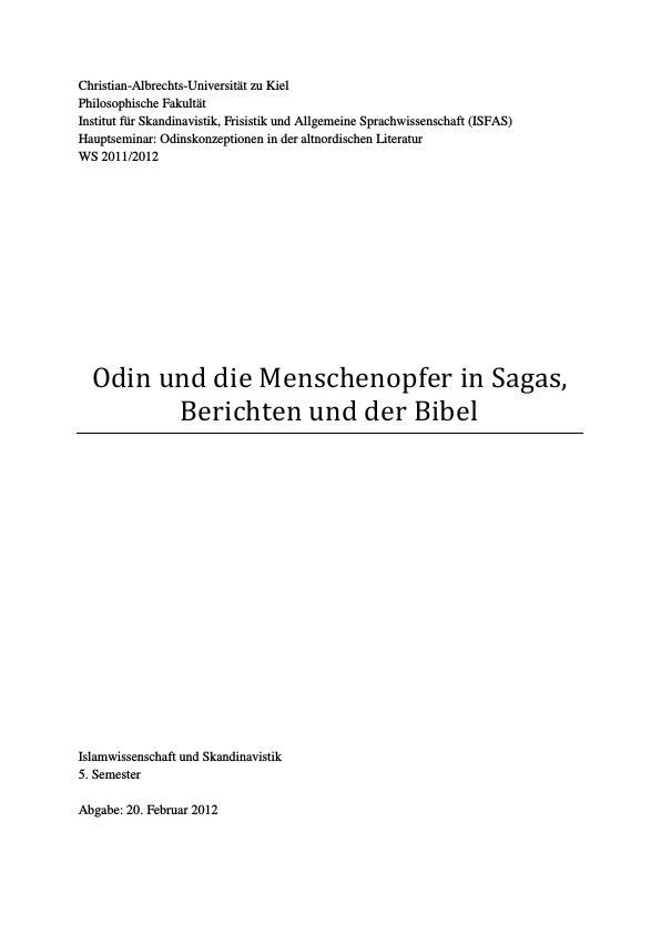 Titel: Odin und die Menschenopfer in Sagas, Berichten und der Bibel