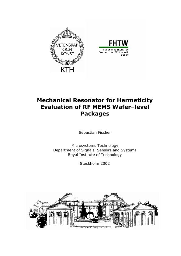 Title: Mechanical resonator for hermeticity evaluation of RF MEMS wafer–level packages