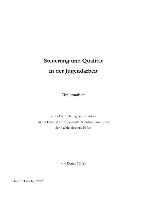 Titel: Steuerung und Qualität in der Jugendarbeit