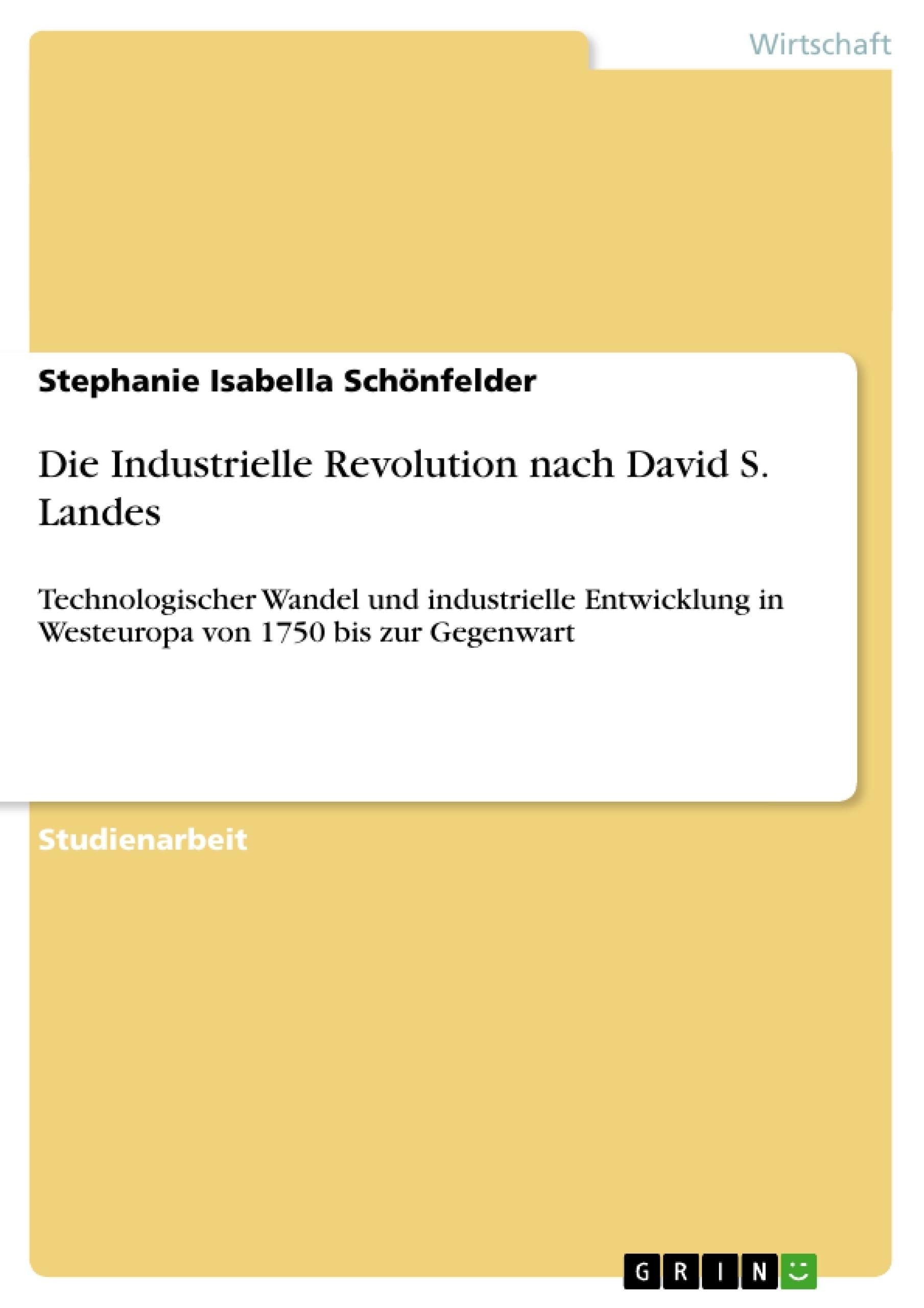 Titel: Die Industrielle Revolution nach David S. Landes