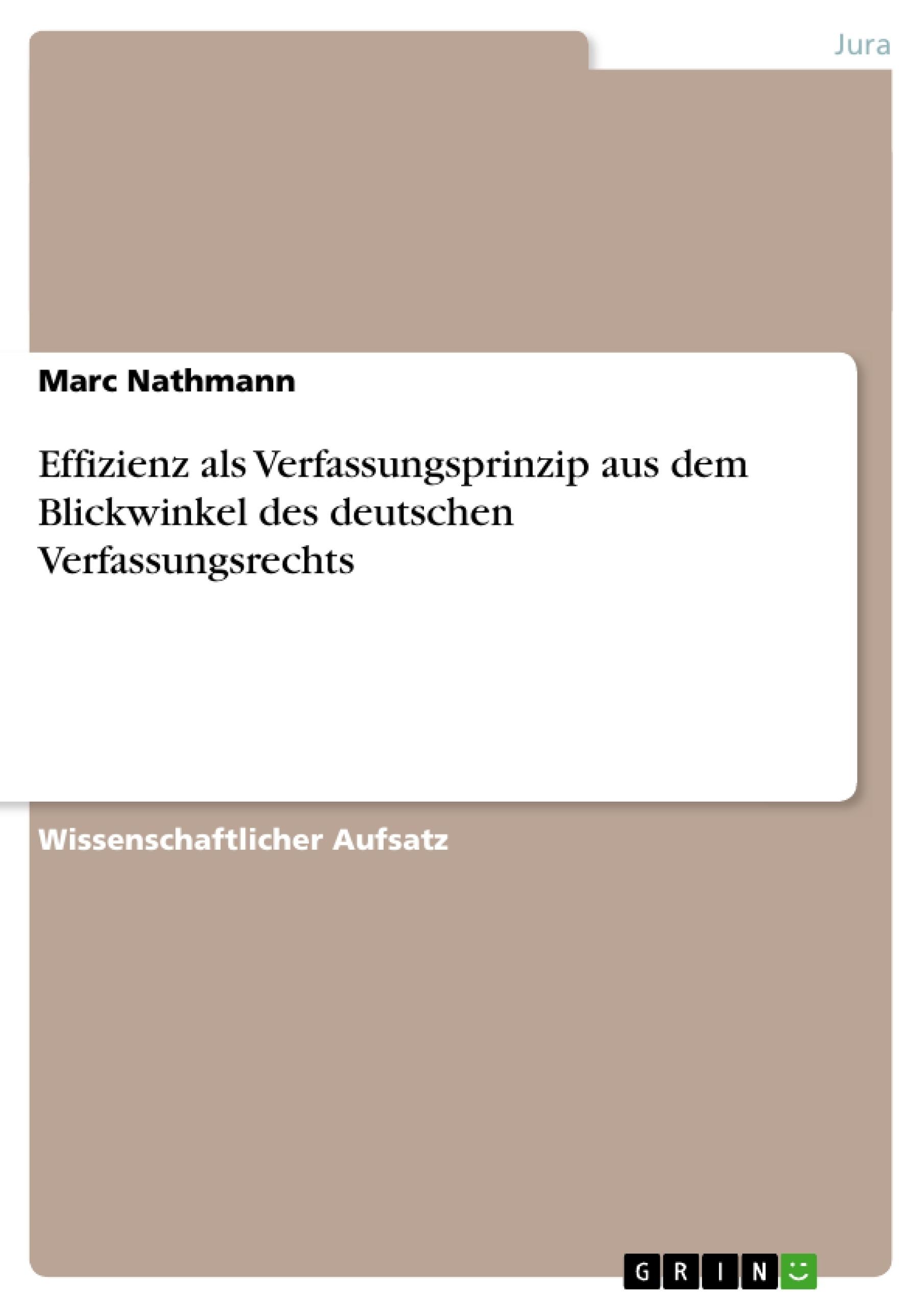 Titel: Effizienz als Verfassungsprinzip aus dem Blickwinkel des deutschen Verfassungsrechts