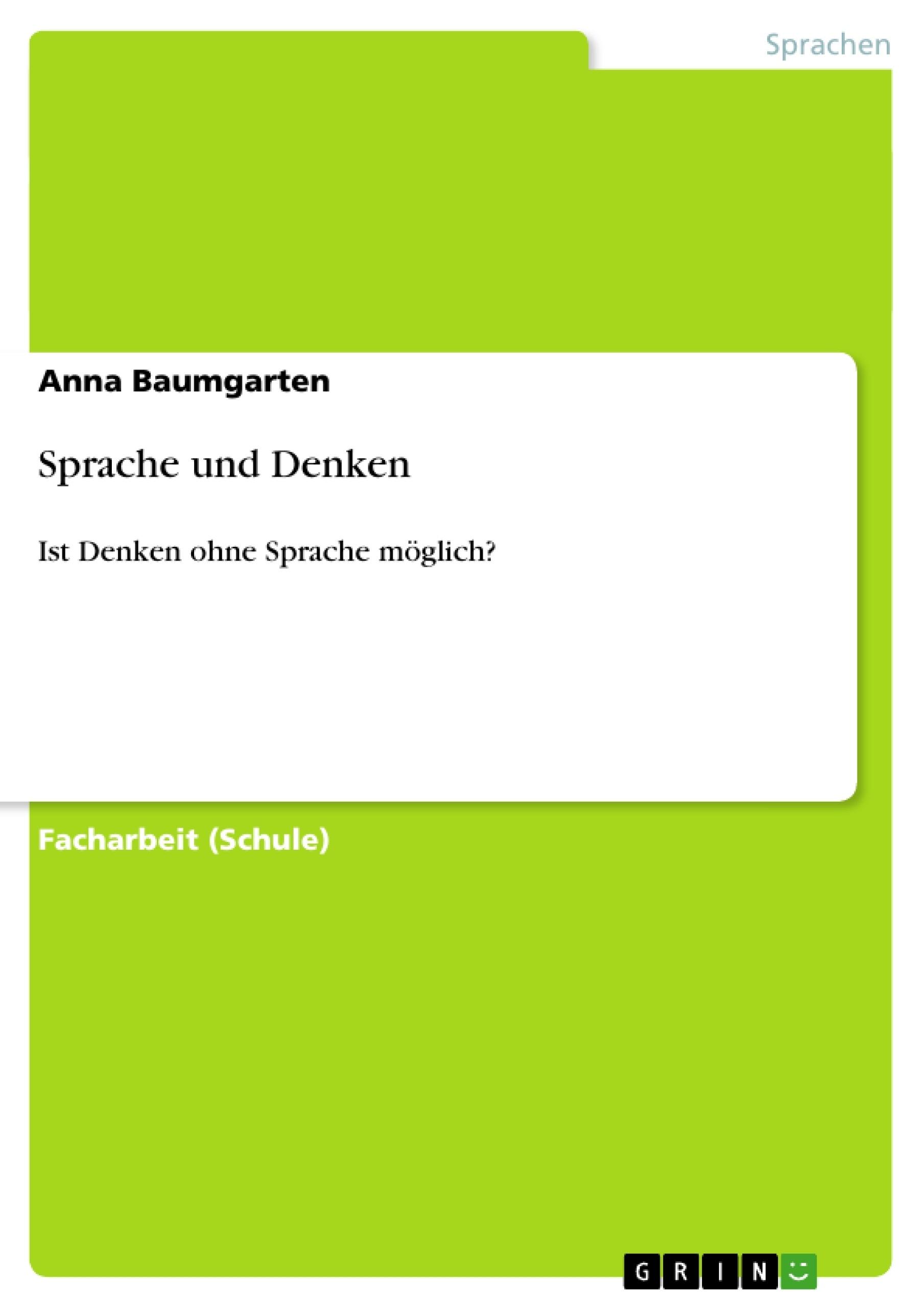 Titel: Sprache und Denken