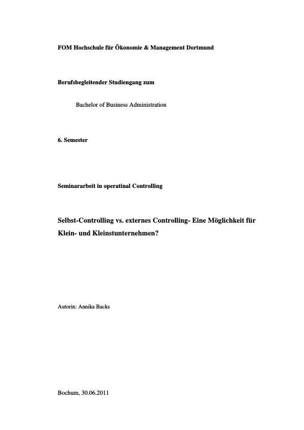 Titel: Selbst-Controlling vs. externes Controlling. Eine Möglichkeit für Klein- und Kleinstunternehmen?