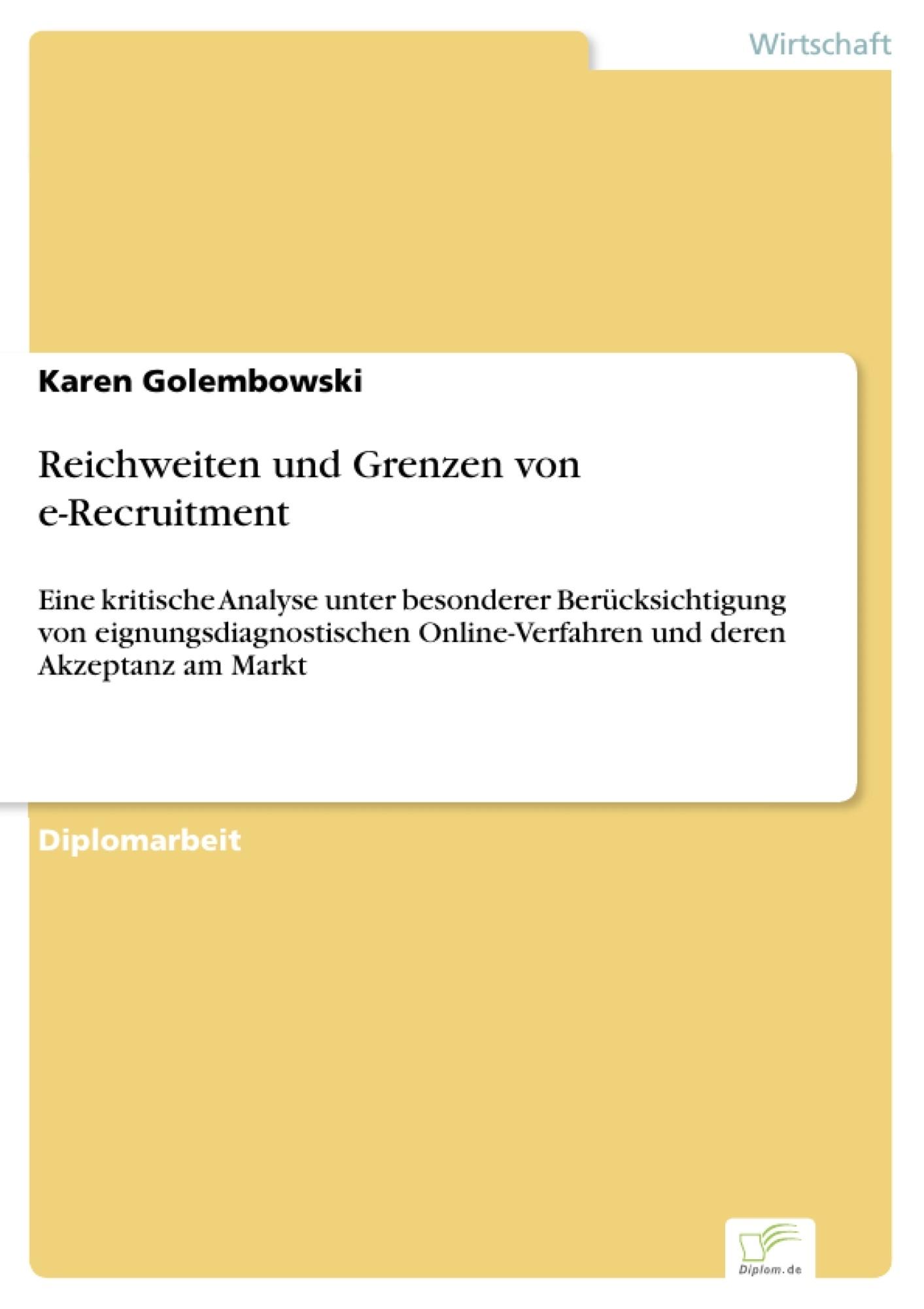 Reichweiten und Grenzen von e-Recruitment
