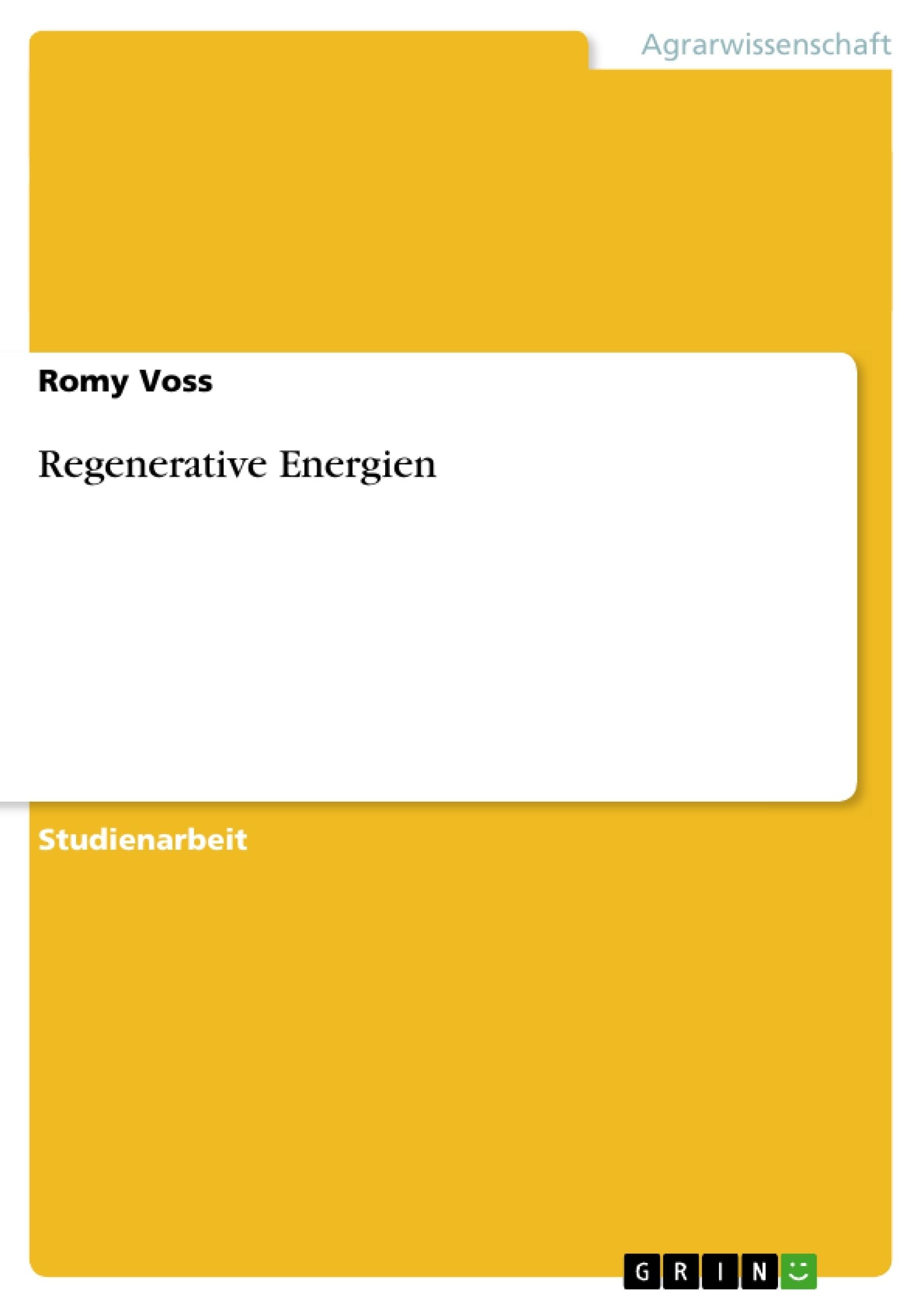Titel: Regenerative Energien