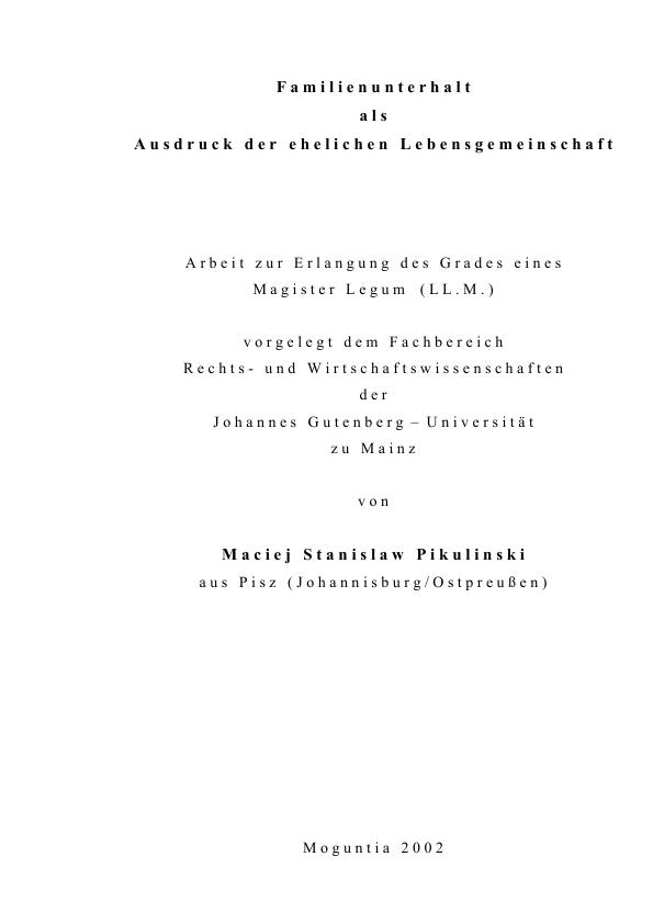 Titel: Familienunterhalt als Ausdruck der ehelichen Lebensgemeinschaft