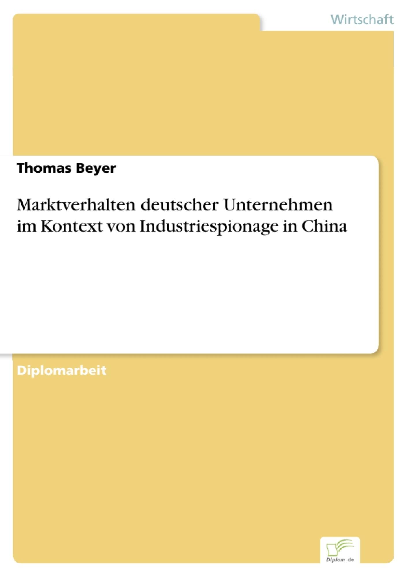 Marktverhalten deutscher Unternehmen im Kontext von ...