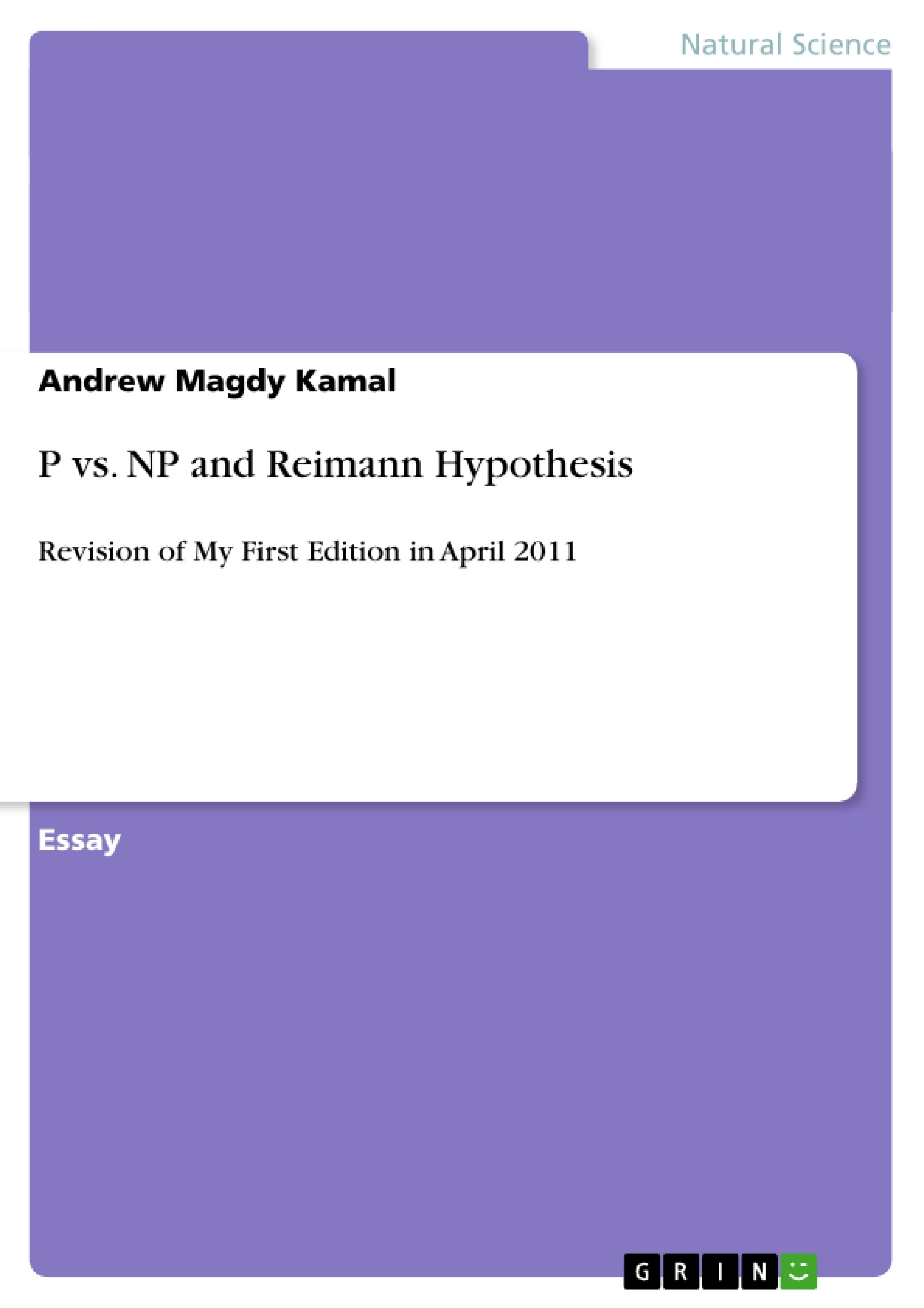 Title: P vs. NP and Reimann Hypothesis