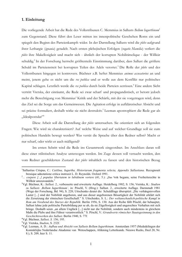 Titel: Die Memmiusrede in Sallusts Bellum Iugurthinum