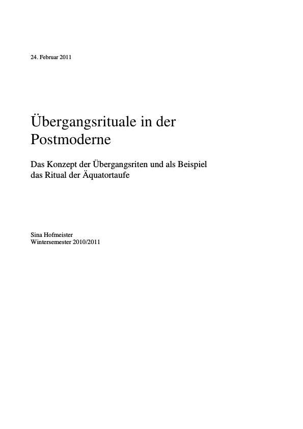 Titel: Übergangsrituale in der Postmoderne. Definitionen und Beispiele