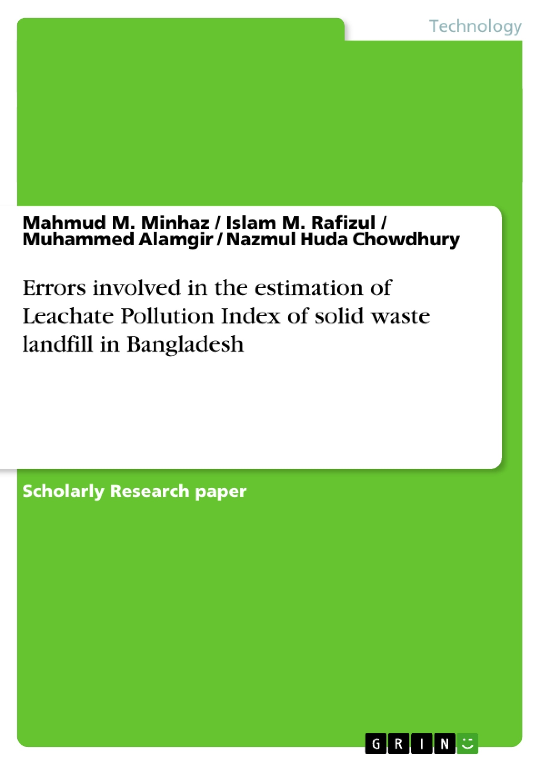 Title: Errors involved in the estimation of Leachate Pollution Index of solid waste landfill in Bangladesh