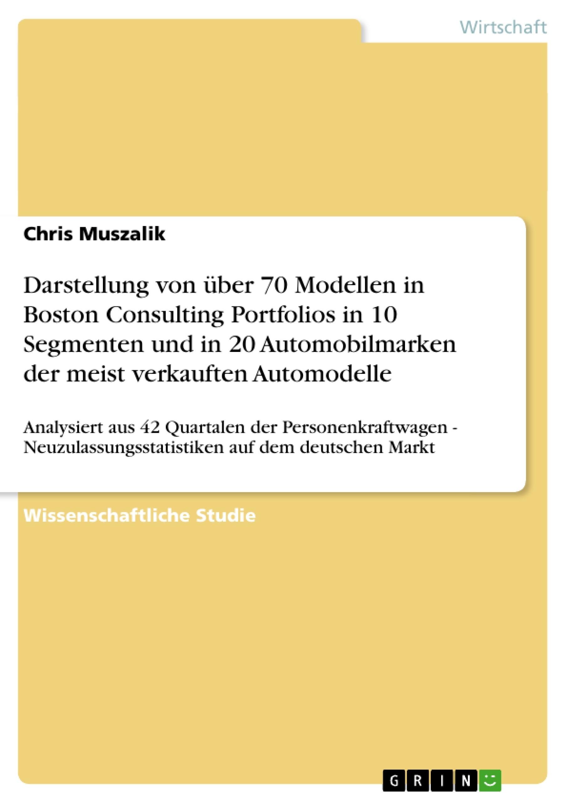 Titel: Darstellung von über 70 Modellen in Boston Consulting Portfolios in 10 Segmenten und in 20 Automobilmarken der meist verkauften Automodelle