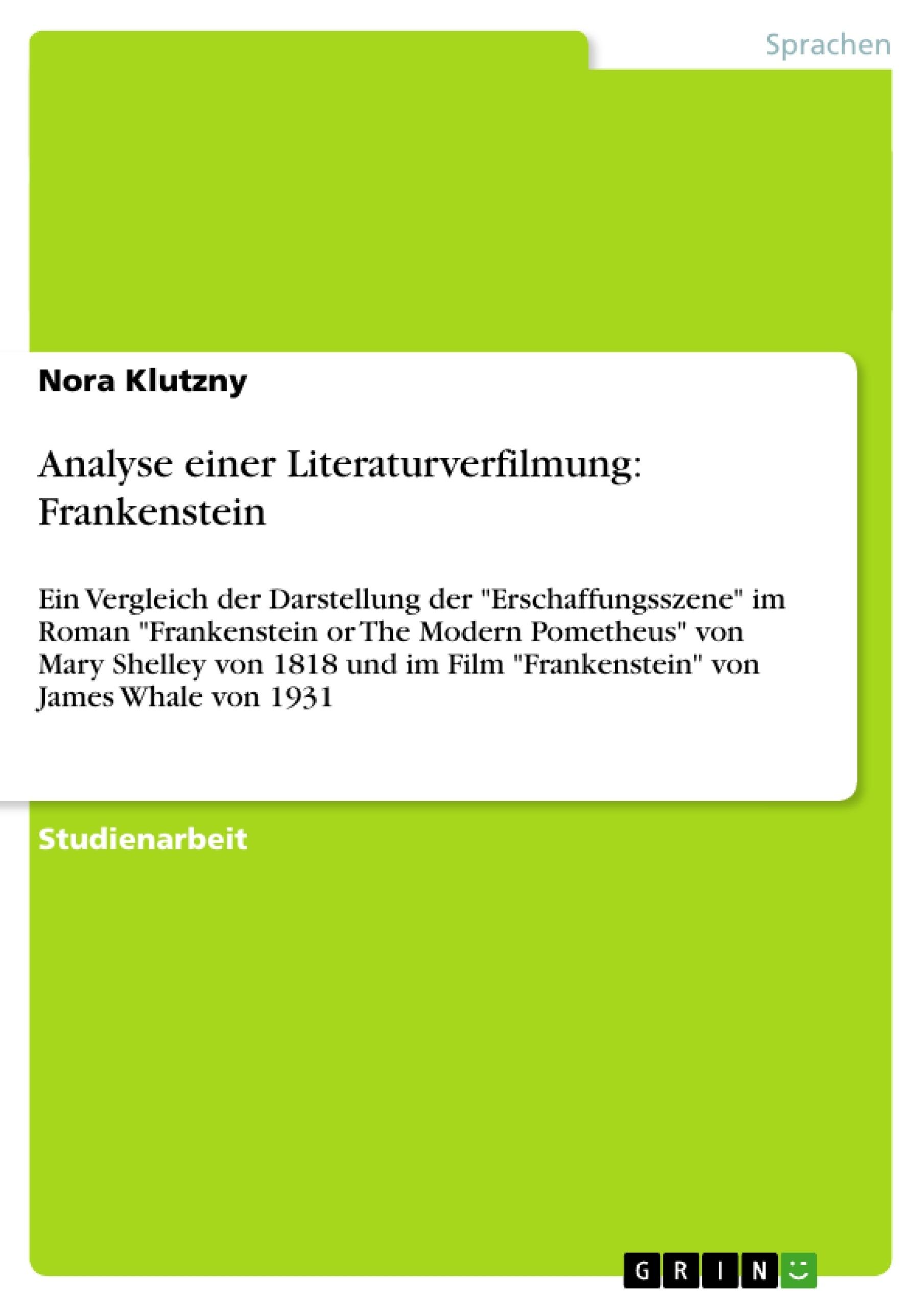 Titel: Analyse einer Literaturverfilmung: Frankenstein