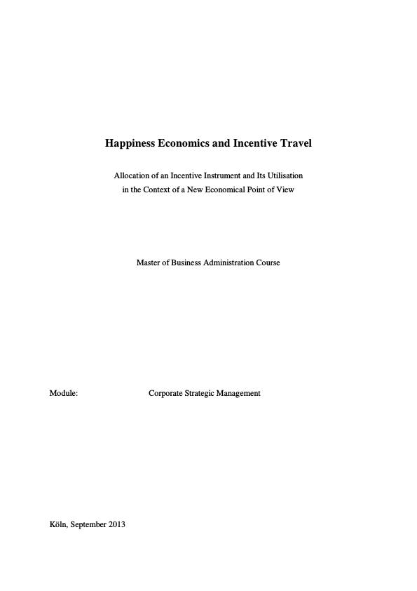 Title: Happiness Economics and Incentive Travel
