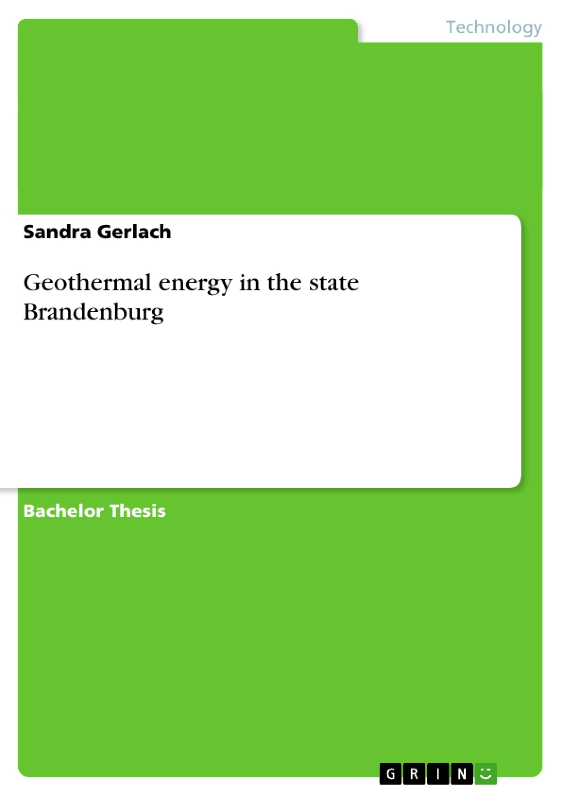 Title: Geothermal energy in the state Brandenburg